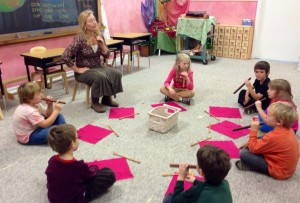 1st grade learning their flutes.