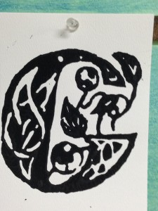 Linoleum block print 7th-8th grade.